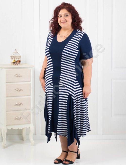 Макси рокля на нежно райе с ефектна долна част/2XL,3XL/-код 5027