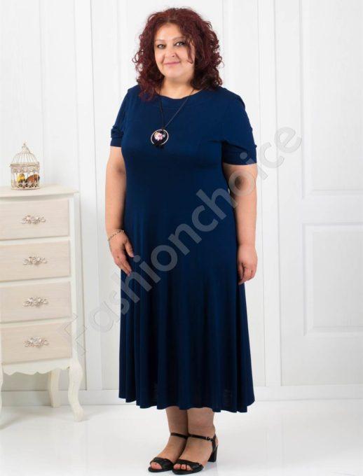 Дълга разкроена макси рокля+подарък нежно бижу-код 60851-6