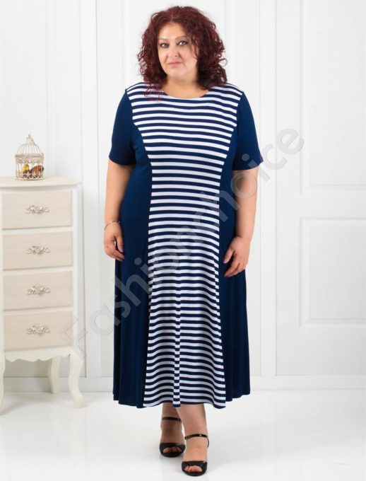 Дамска дълга рокля на нежно райе/4XL,5XL,6XL/-код 60851-7