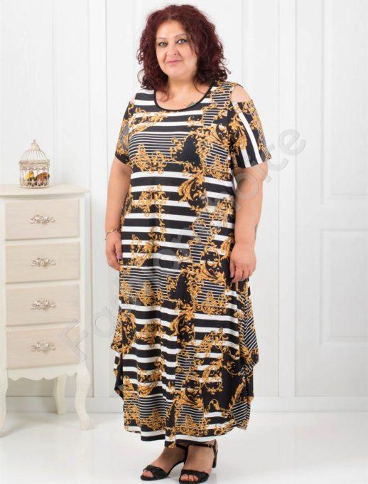 Красива макси рокля с ефектни абстрактни мотиви-код 824-11