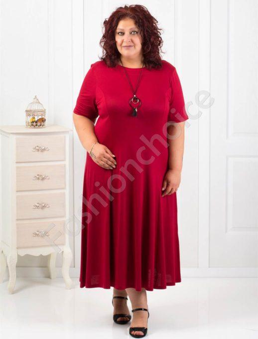Дълга макси рокля в цвят бордо+подарък нежно бижу-код 60851-8