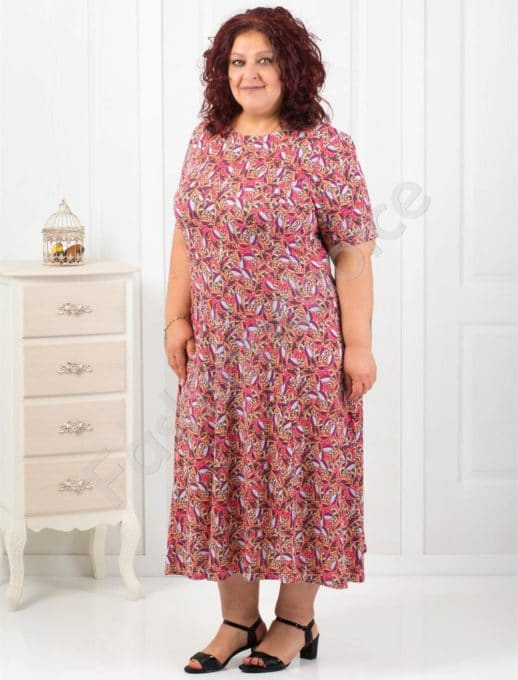 Чудесна дамска рокля с приятен цветен десен-код 6085-13