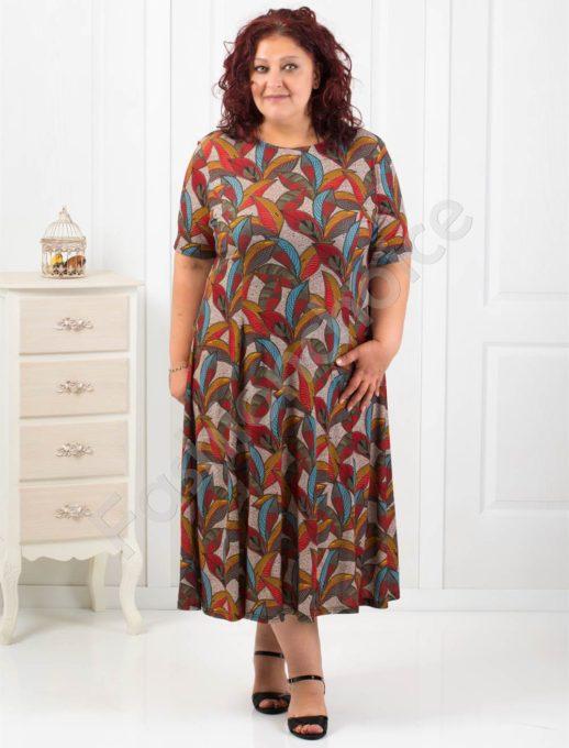Елегантно разкроена рокля в топъл цветен десен/4XL,5XL,6XL/-код 6085-15