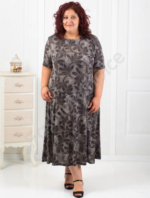 Красива макси рокля с оригинален десен/4XL,5XL,6XL/-код 6085-14