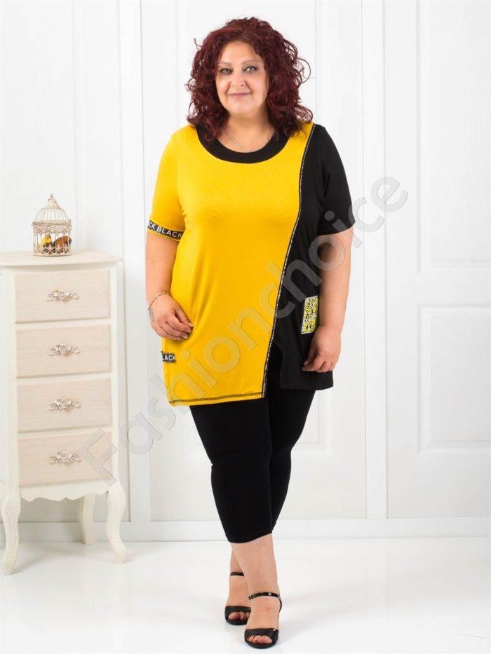Дамска макси туника в жълто с интересна свежа апликация-код 1120-1