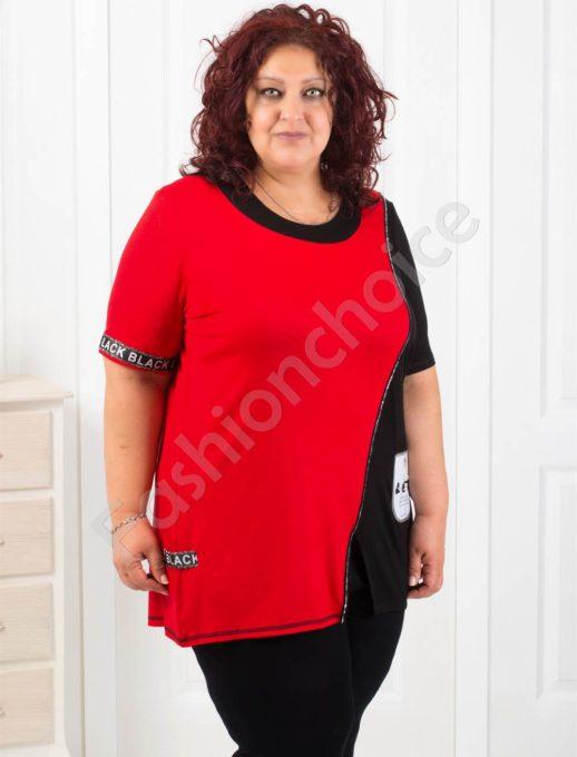 Дамска макси туника в червено с интересна свежа апликация-код 1120