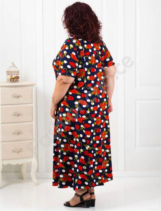 Красива разкроена макси рокля в нежни червени макове-код 084-3