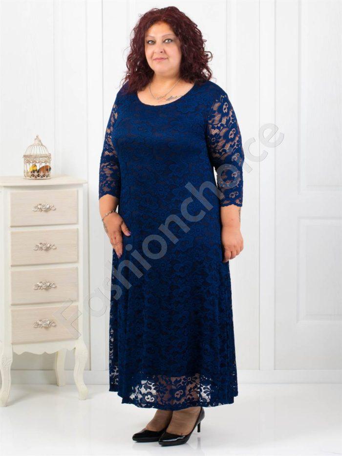 Елегантна дълга дантелена рокля в синьо/4XL,5XL,6XL/-код 2008-2