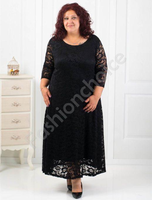 Елегантна дълга дантелена рокля в черно/4XL,5XL, 6XL/-код 2008-1