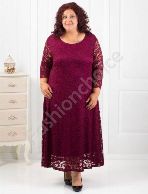 Елегантна дълга дантелена рокля в бордо