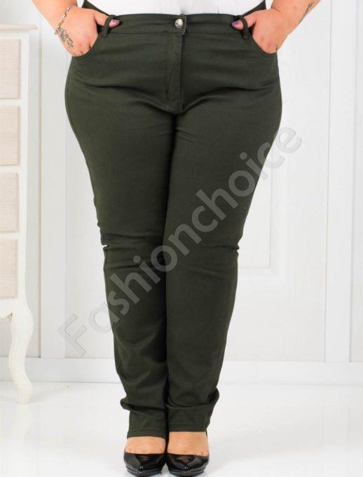 Дамски макси панталон в маслено зелен цвят/58-62/-код 987-115