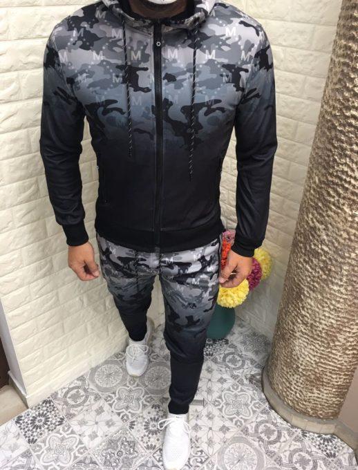 Мъжки камуфлажен спортен комплект в сиво-код 263-1