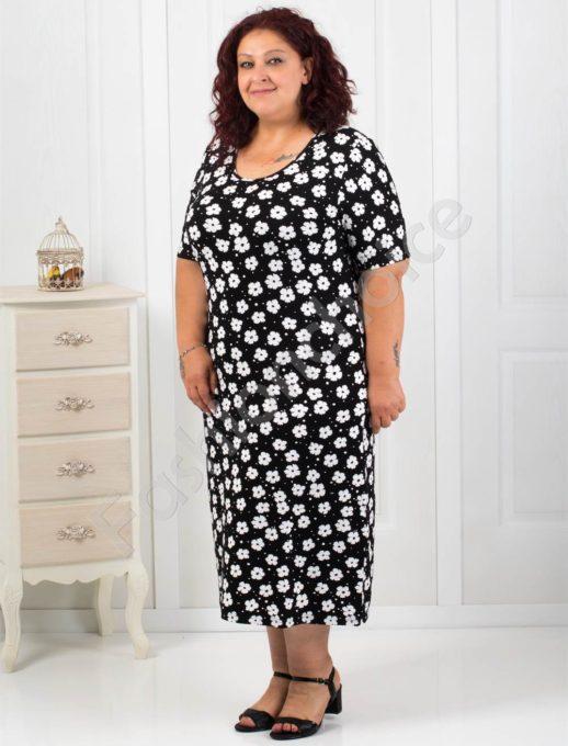 Права макси рокля на свеж цветен десен