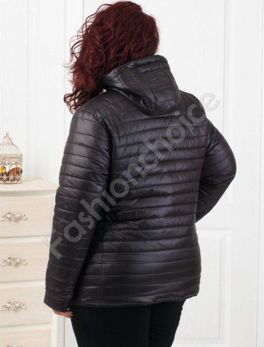 Дамско макси двулицево яке в черно-Код 6046-1