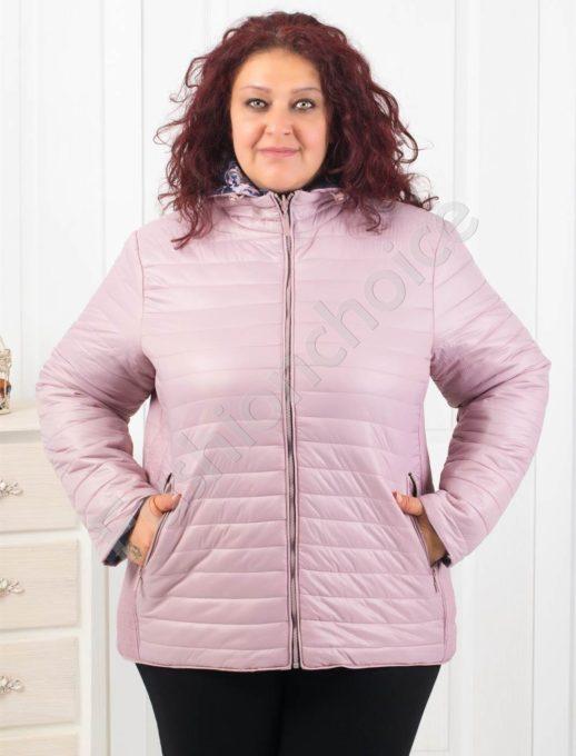 Дамско макси двулицево яке в светло лилав цвят-Код 6046-2
