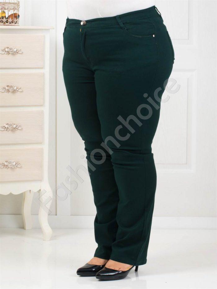 Елегантен дамски макси панталон в маслено зелен цвят-Код 1013-2