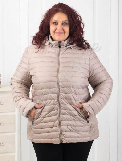 Ефектно двулицево дамско яке в бежово-Код 5819
