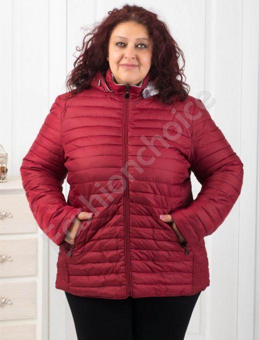 Ефектно двулицево дамско яке в цвят бордо-Код 5819-3
