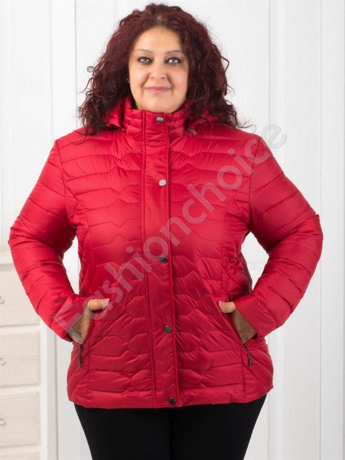 Модерно дамско макси яке в червено/4XL-8XL/-Код 1906-1