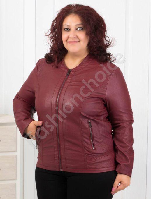 Макси дамско кожено яке в цвят бордо- Код 613-1