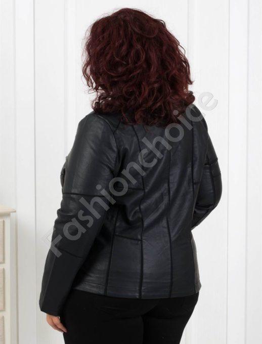 Кожено дамско яке в черно /големи размери/ Код 618-655-2