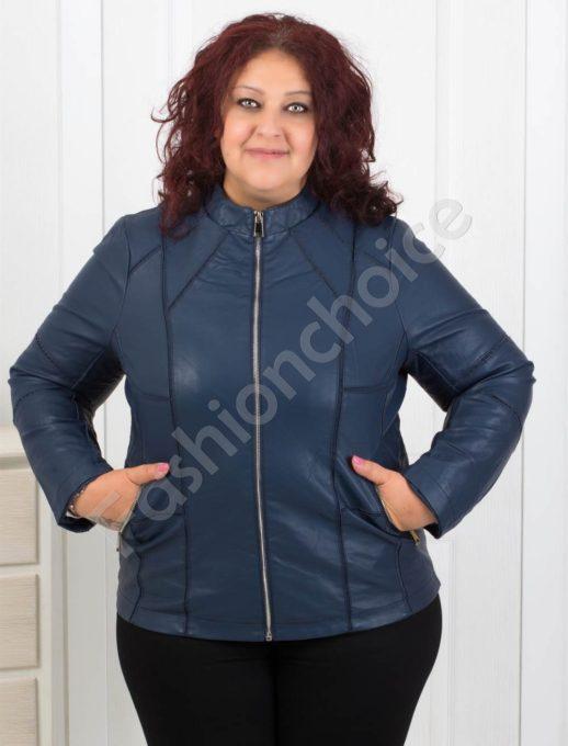 Кожено дамско яке в синьо /макси размери/ Код 618-655-1