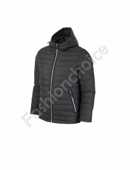 Мъжко яке с качулка в черно/макси размер/