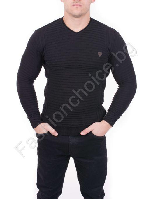 Мъжка блуза от фино релефно плетиво в черно