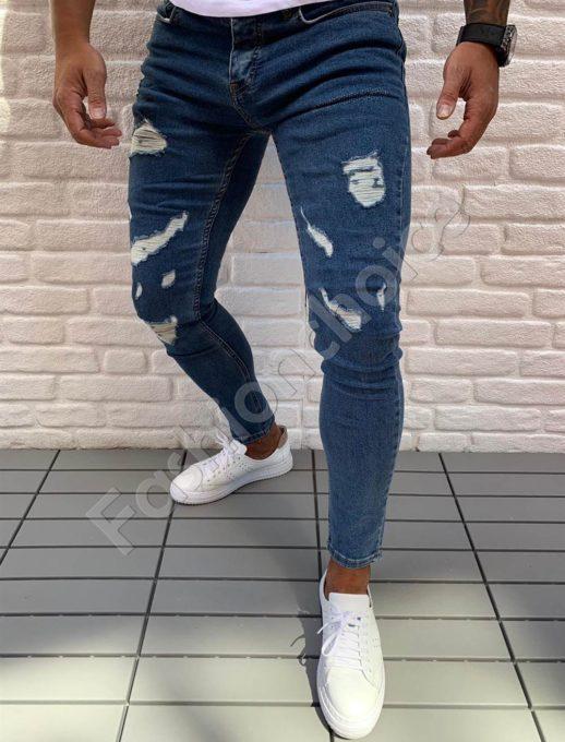Мъжки дънки син деним с накъсан ефект-код 543