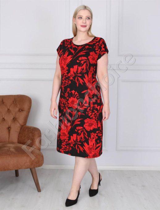 Нежна дамска макси рокля в черно с червени цветя-код 944