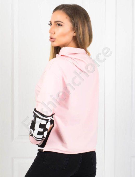 Дамско спортно горнище в розово с качулка Код 1236-1010