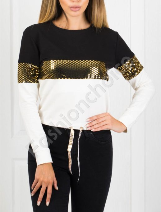 Дамска блуза в черно с блестящи частици Код 1240