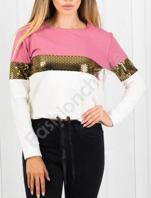 Дамска блуза в розово с блестящи частици Код 1240-1