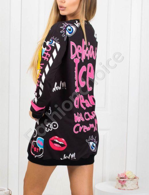 Дамска спортна рокля в черно с принт Код 1236