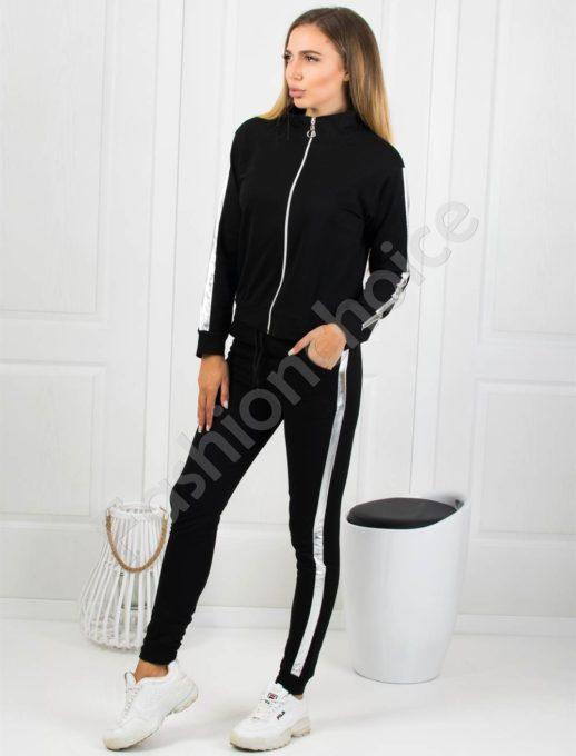 Спортен дамски сет в черно със сребрист кант Код 1234