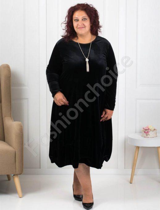 Елегантна макси рокля от плюш в черно Код 278-3