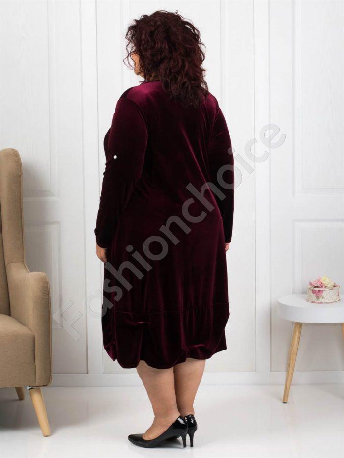 Елегантна макси рокля от плюш в цвят бордо Код 278-2