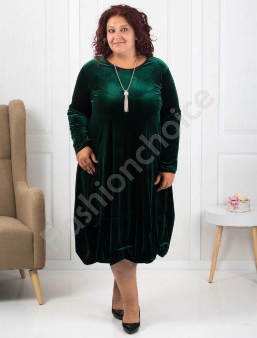 Елегантна макси рокля от плюш в тъмно зелено Код 278