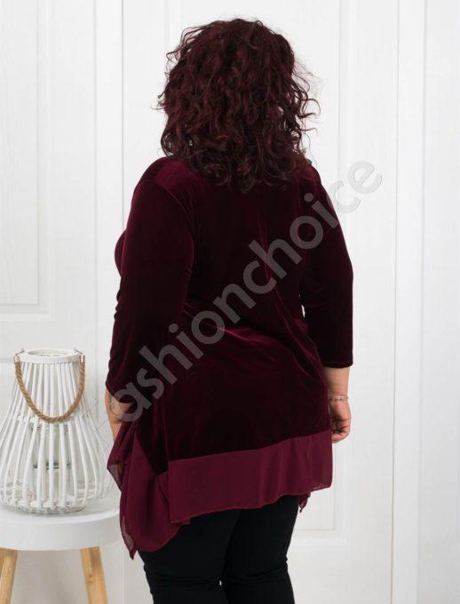 Макси туника от плюш в цвят бордо+подарък бижу-код 280-3
