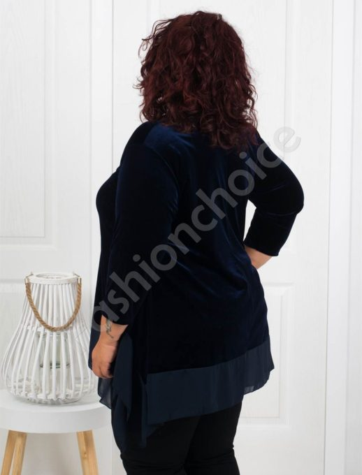 Макси туника от плюш в тъмно синьо+подарък бижу-код 280-4