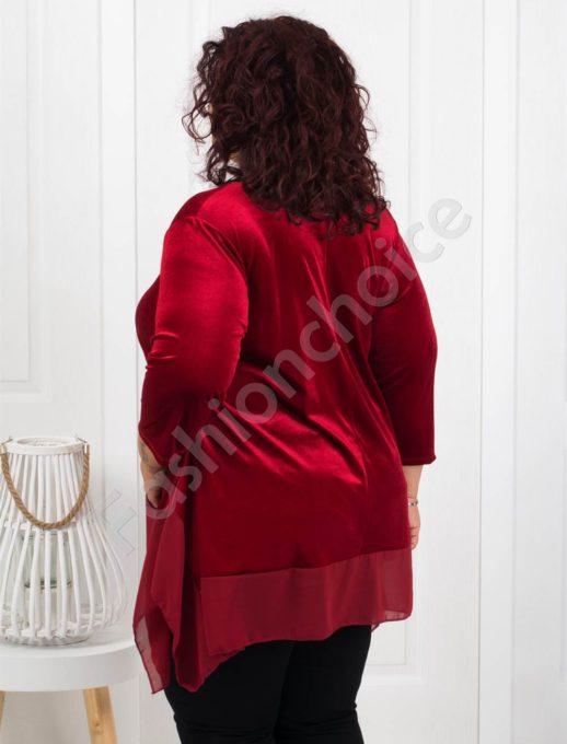 Макси туника от плюш в червено+подарък бижу-код 280