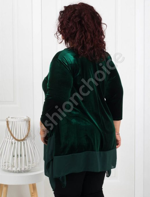 Макси туника от плюш в зелено+подарък бижу-код 280-1