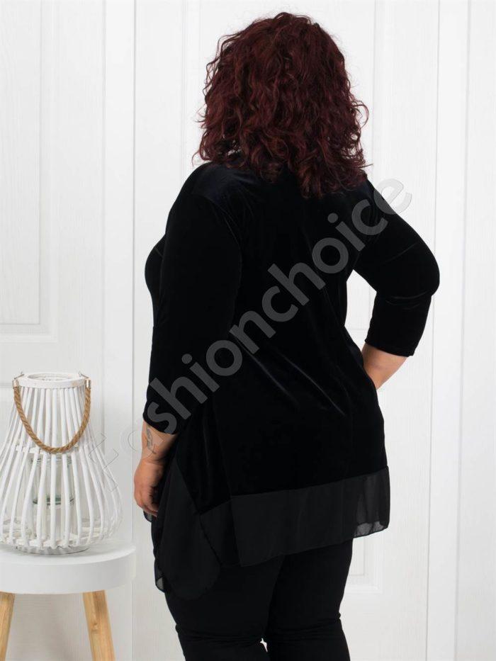 Макси туника от плюш в черно+подарък бижу-код 280-2