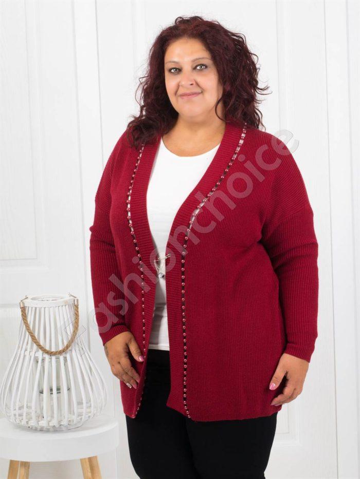 Красива плътна макси жилетка с перли в бордо-Код 3221-2