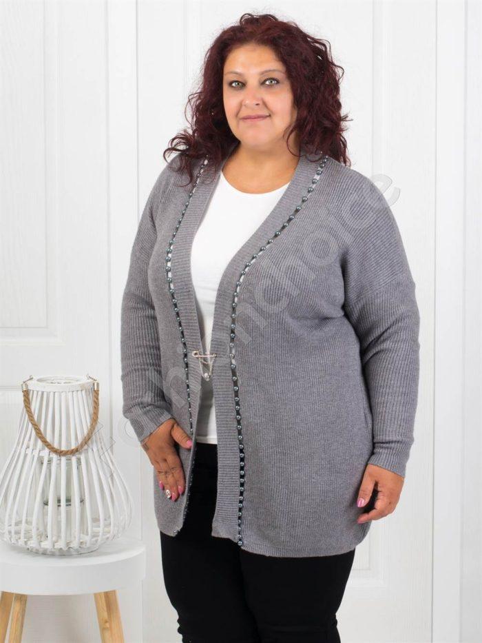 Красива плътна макси жилетка с перли в сиво-Код 3221-3