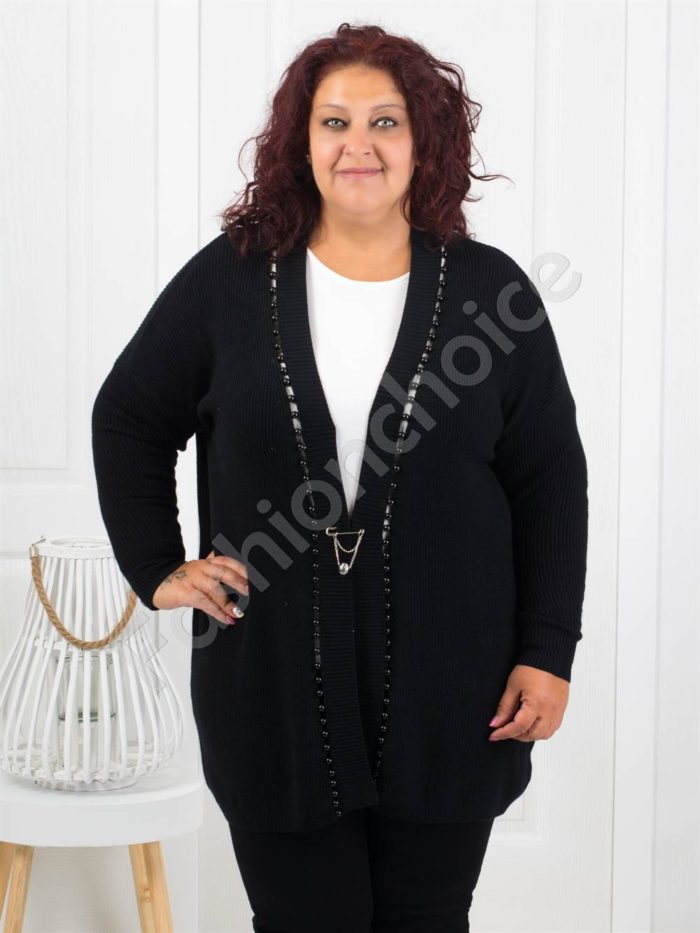 Красива плътна макси жилетка с перли в черно-Код 3221