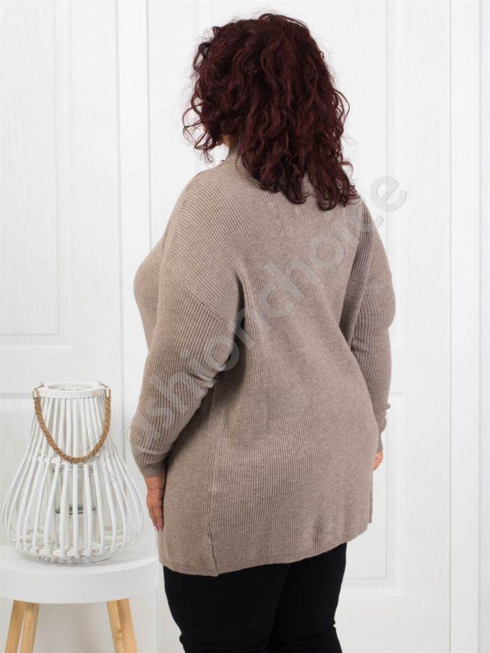 Красива плътна макси жилетка с перли в бежово-Код 3221-1