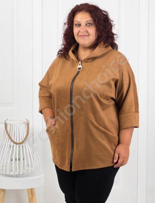 Сладко макси палтенце от набук в цвят камел-код 273