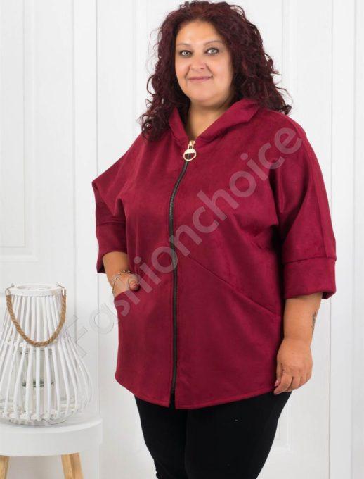 Сладко макси палтенце от набук в цвят бордо-код 273-1