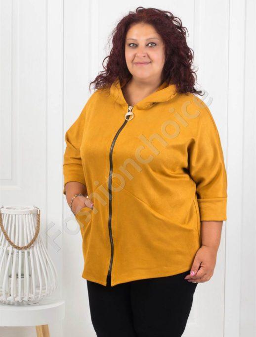Сладко макси палтенце от набук в цвят горчица-код 273-3
